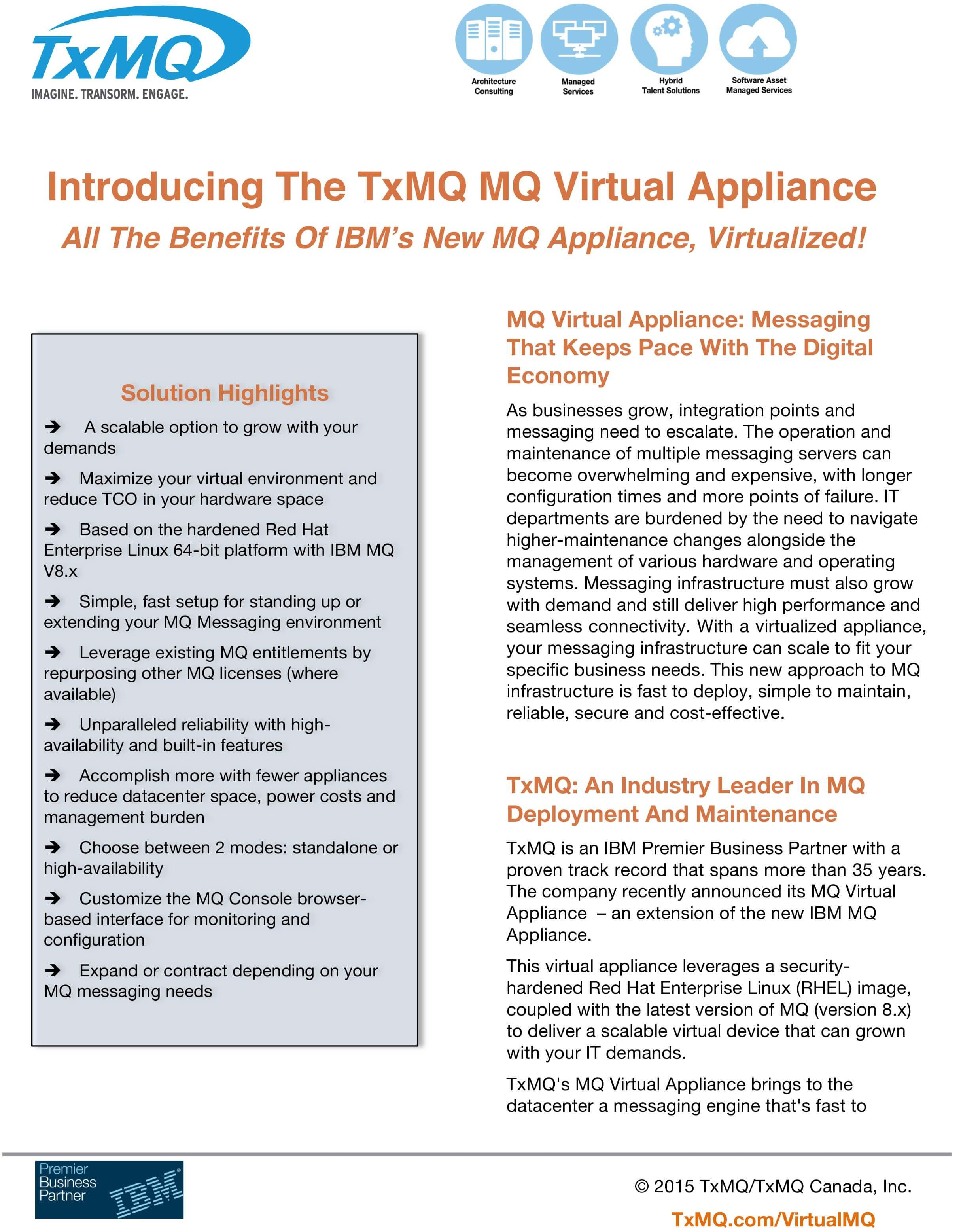 Image of TxMQ's MQ Virtual Appliance Product Sheet