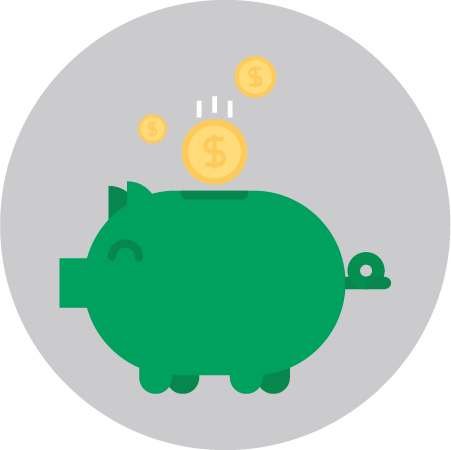 Integration Lower Total Cost of Ownership Piggybank Icon